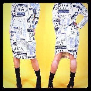 📰 Off The Shoulder Newspaper Print Dress